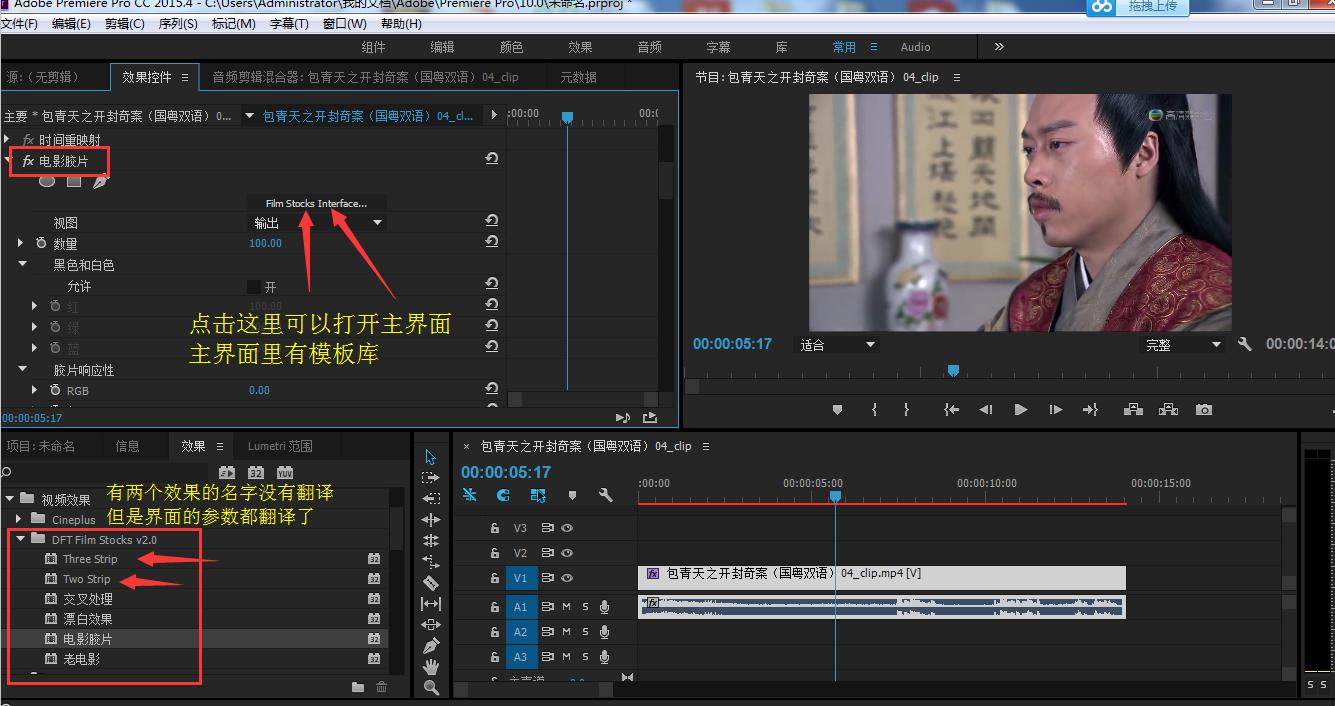 Pr电影胶片模拟调色插件DFT+FilmStocks+v2.0v10+CE中文汉化破解版