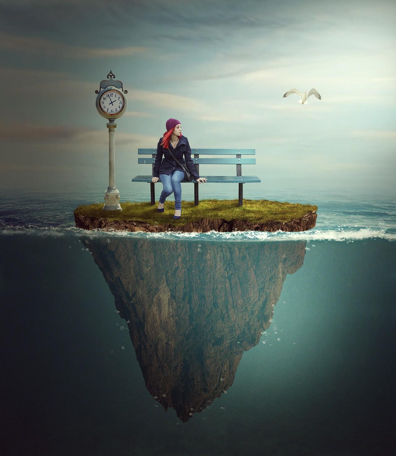 PS-《海中孤岛-唯美》创意海报合成