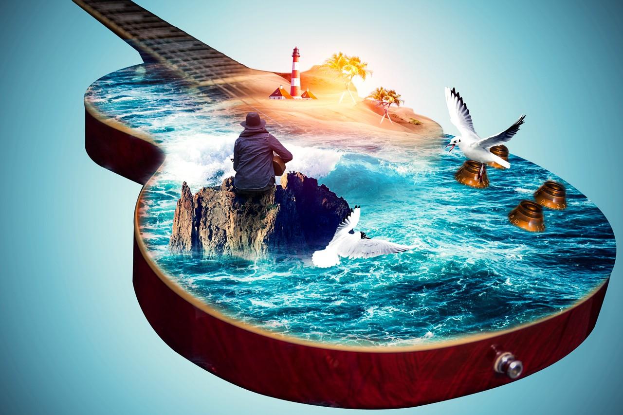 PS-《梦幻吉他大海》创意海报合成