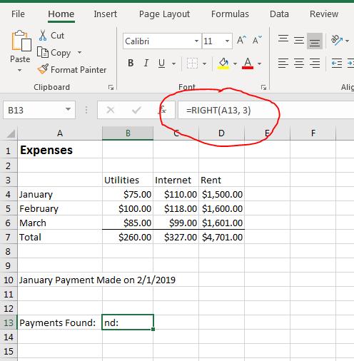 在Excel 2019中处理文字的方法
