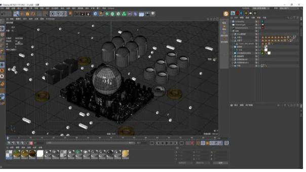 C4D工程模板:科技暗黑钢铁城市5G元素-羽兔网资讯