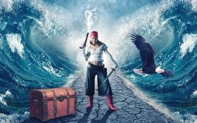 PS-《海神女将-深邃神秘的大海》创意海报合成