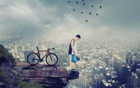 PS-《俯瞰城市-暴风雨来临》创意海报合成