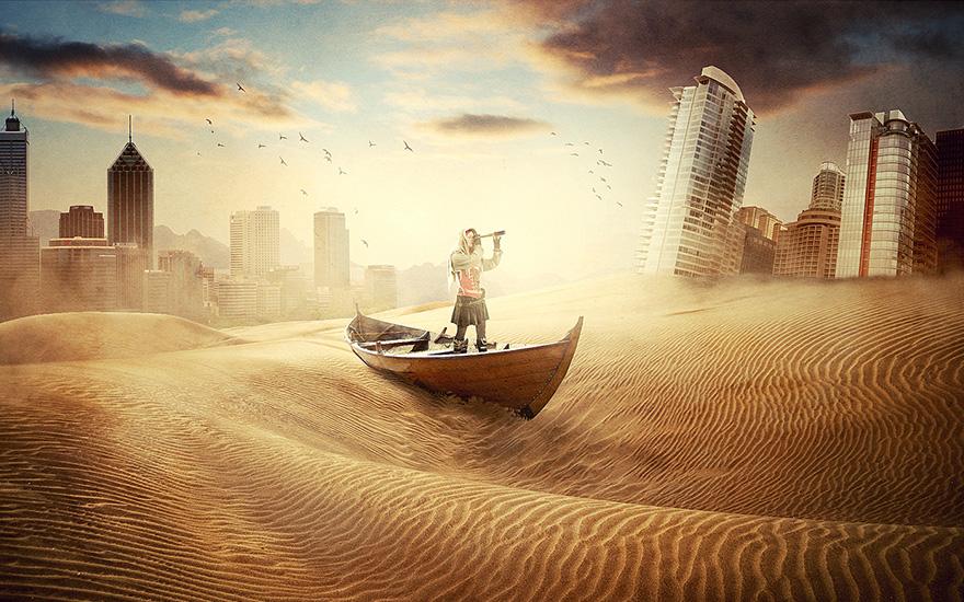 PS-《沙漠之城-美丽绝望》创意海报合成